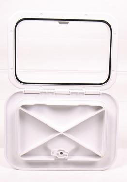 Revisionsklappe mit Verriegelung weiß, 2 Verschlussriegel 440x315mm