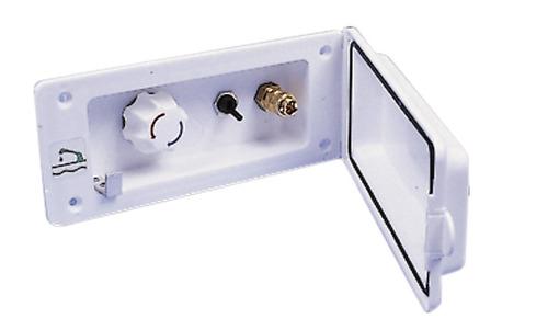 Wateraansluiting met voormengkraan + douche wit, zonder slot