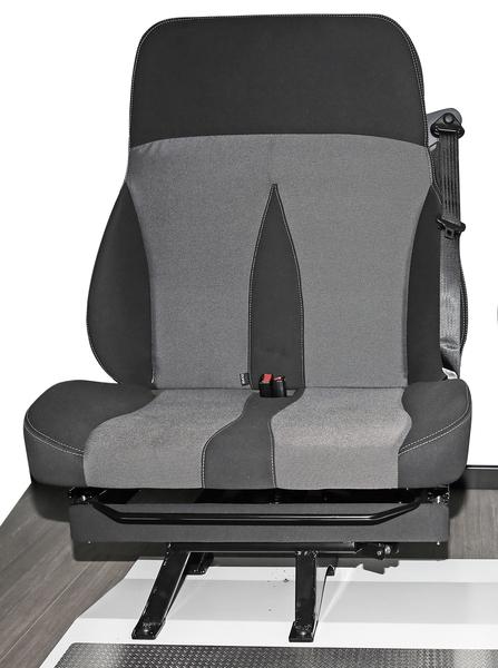 Drehbare Doppelsitzbank, Modell 650, Bezug Schwarz/Grau