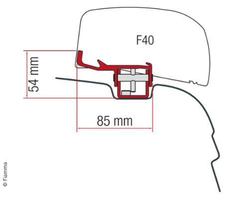 Montagedadapter für F40Van VW T5/T6, UK-Version