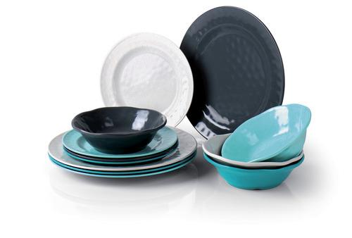 Melamine Tableware, Set CHALET Camp4, For 4 People/12 Parts