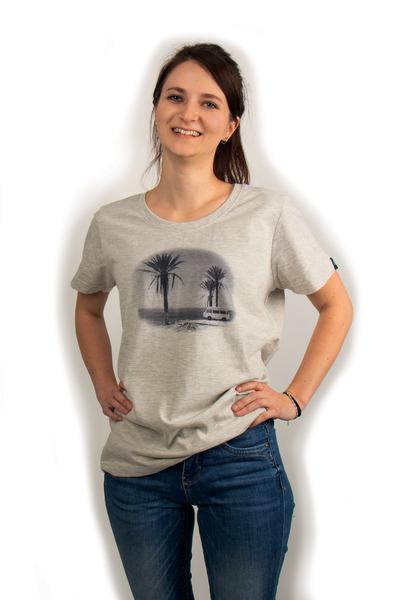 Camiseta con estampado Bulli para mujer. Color: gris claro melange. Material 100% algodón orgánico - Camiseta mujer 34 gris claro
