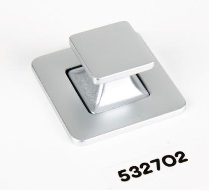 Push Lock - Komplet push-button møbler lås krom matt 37x37mm