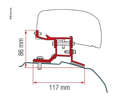 Adapter for roof awning F40van Ford Transit Custom short wheelbase UK version