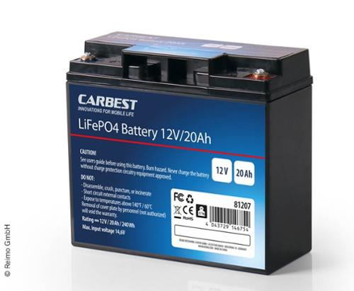 Carbest lithium iron phosphate battery (LiFePo4), 20Ah