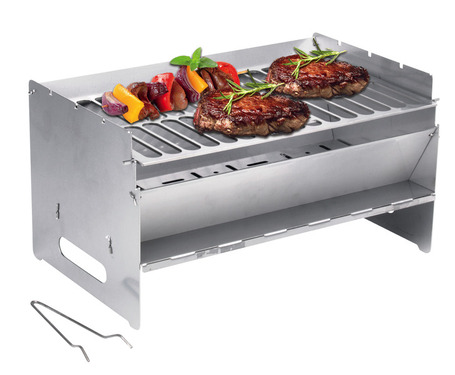 mobile foldable barbecue 250x400x220mm, stainless steel