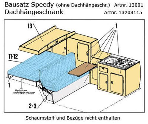 VW T3 overskab inklusiv støtteplade til fastgørelse af monterings-kit