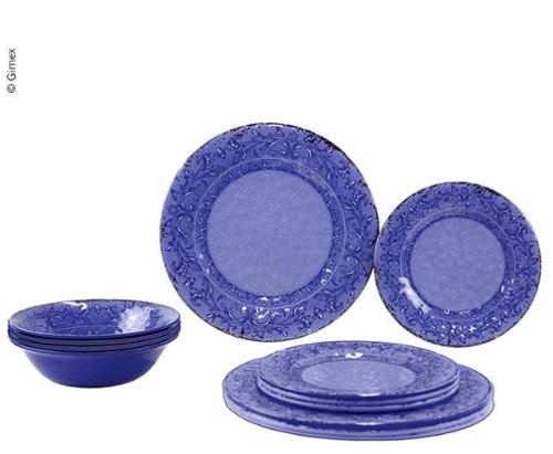 Melamin Geschirr-Set STONE AZURE, 12 teilig, für 4 Personen, Teller+Schüssel