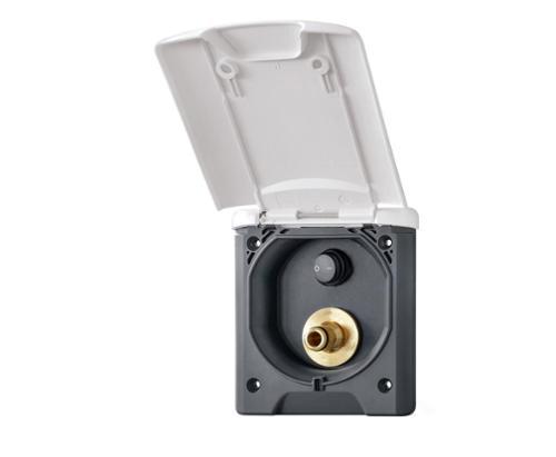 Gassteckdose Magnet schwarz 130x145mm, Montage-DM 95mm