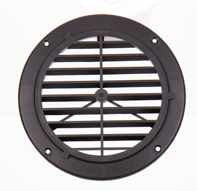 Ventilation grille, black, outside: 164mm, round