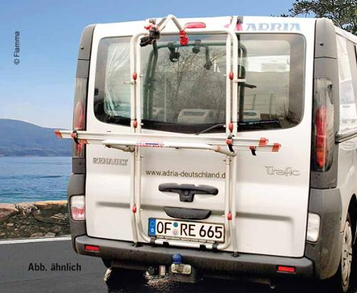 Alu rear carrier Carry Bike f. 2 wheels Renault Trafic tailgate