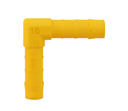 90° connector angled for 10mm hose 2pcs white yellow