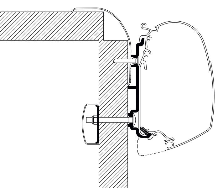 Dach-Montage-Adapter für Reisemobile und Wohnwagen, Frankia