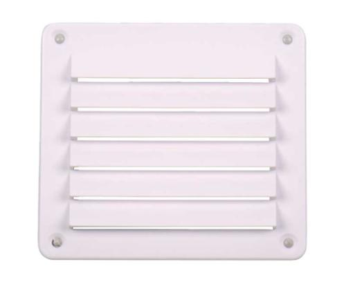 Ventilation grille, white, 142x127mm, angular, incl. screws