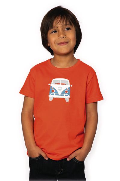"T-Shirt KIDS ""Bulli Front""VW, Größe 128/134, 100% Baumwolle tomatenrot"
