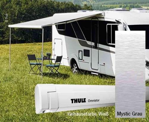 Thule Omnistor wall awning with motor, 4m, case white, cloth Mystic Grey