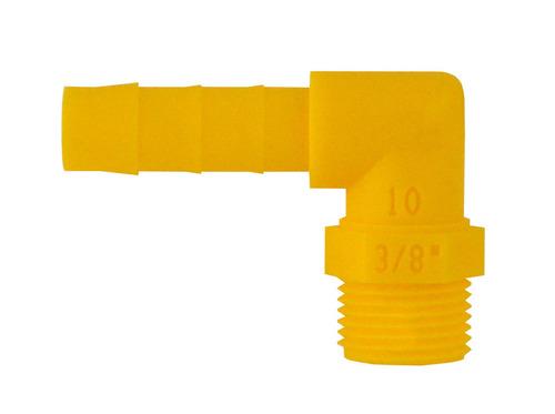 Gevind 90 ° til 10mm slange 3/8 hvid gul