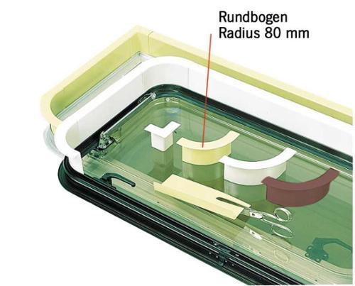 Venster binnenbekleding lichtgrijs - rondboogradius 80 mm