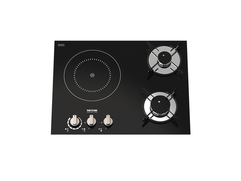 Hybrid gas cooker 2xgas + 1xinduction, electric ignition kW 12V