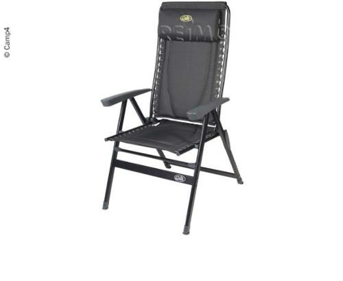 Campingstol betrukket med nakkestøtte, sort