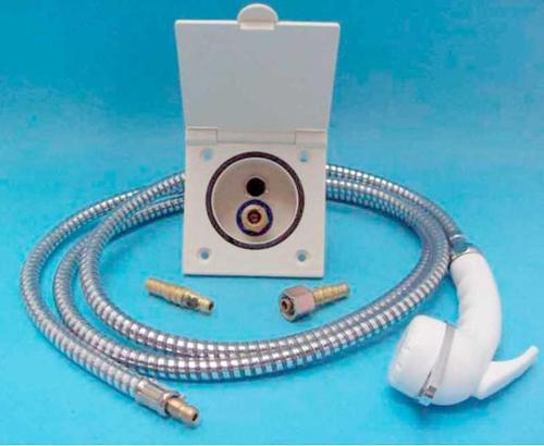 Set presa acqua con doccia + 2m tubo flessibile, bianco