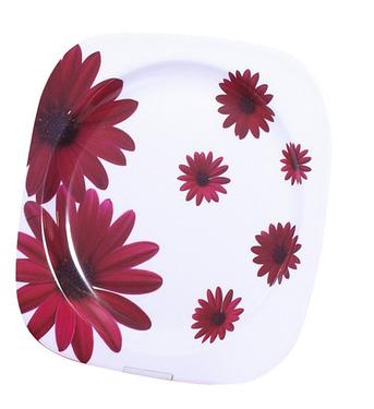 Melamin plade sæt (Ø 22,5cm) Rød Blomst, 2 stk