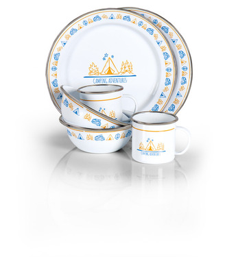 Enamel crockery set CAMPRFIRE 6 pcs. for 2 persons