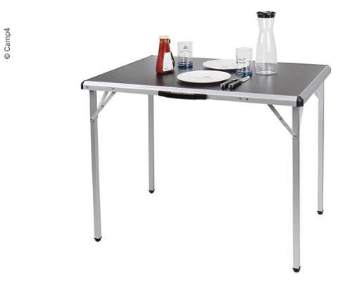 Campingtisch TORE 90x60x70cm, schwarze MDF-Tischplatte, Alu-Gestell