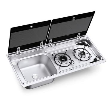 Combinación de cocina y fregadero con tapa de vidrio de 2 partes