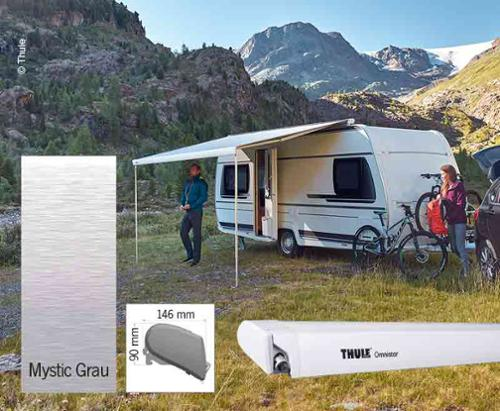 Thule Omnistor 6300, tente, Mistik Gri, beyaz gövde, 450cm