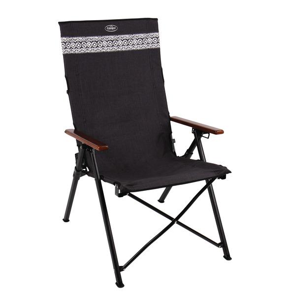 Chaise pliante ETHNO, marbrée noire, accoudoir en bois