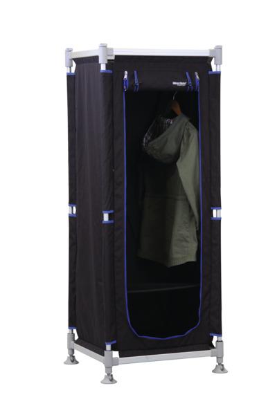 Kleiderschrank ModuCamp Modul 1, 152x62x49cm, schwarz/blau