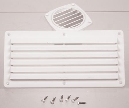 Ventilation grille, white, 264x127mm, angular, incl. screws