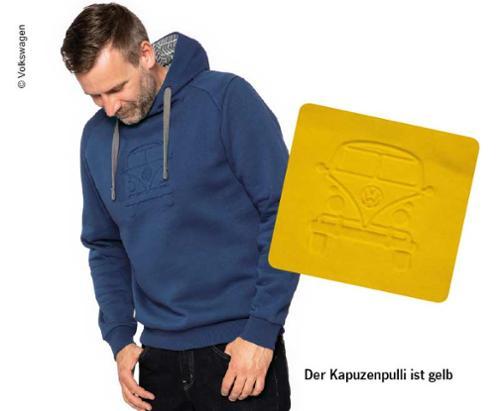 Kapuzenpullover VW Bulli, Größe M, gelb, 65% Baumwolle/35% Polyester