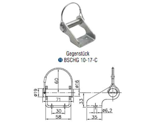 Winterhoff Gegenstück Bordwandscharnier BSCHG 10-17-C