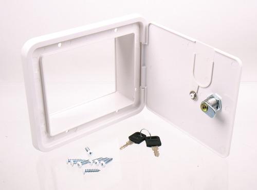 Service klappe med lås, ydre dimensioner 151x166mm, hvid