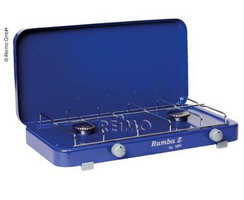 Gaskocher Rumba mit Piezozündung 2Fl. blau, 50mbar