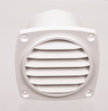 Ventilation grille with shaft white, outside: 94x94mm
