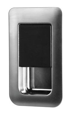 Türschloss 36x59mm chrome brushed/schwarz Türstärke 12-18mm