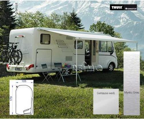Awning Omnistor 8000 with motor white, 4m cloth Mystic Grey