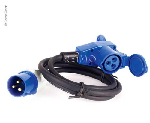 CEE connection cable with CEE plug and CEE angle connector, 25m