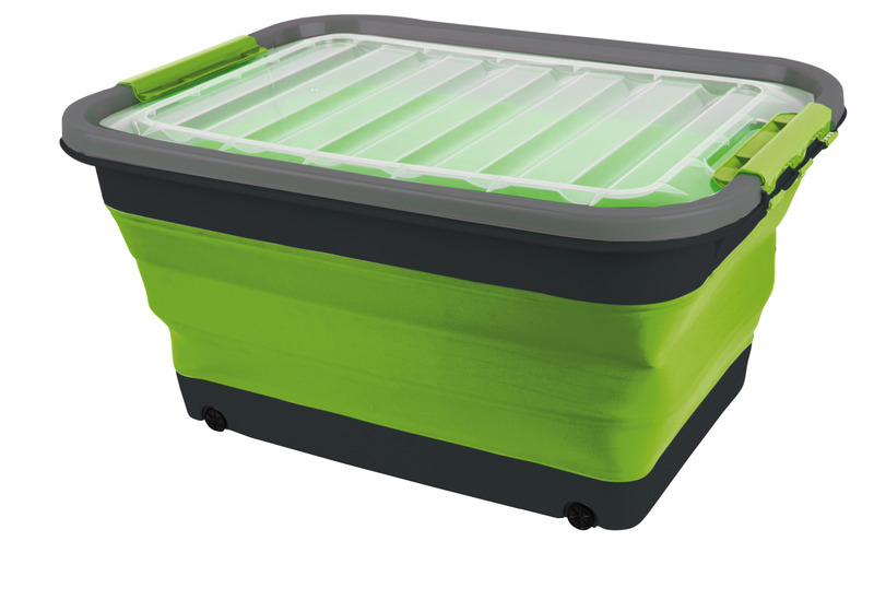 Storage box 30l foldable with lid and wheels