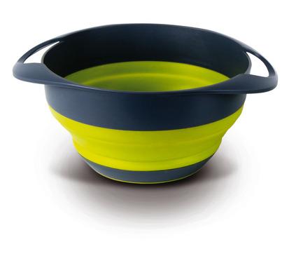 Silicone dish + sieve, foldable, set, grey/lime