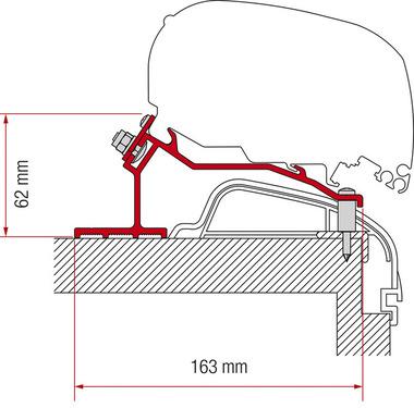 Adapter markis F65L eller F80S för Hobby Caravan från 2012 Premium & amp; På turné