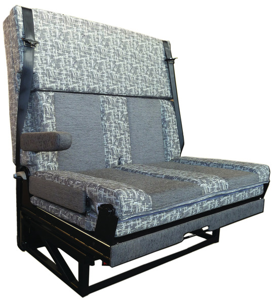 Seat-/sleeping bench, 1 lateral armrest, 3 point belts