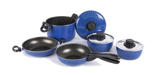 Camping-Kochgeschirr Alu, 9-teilig, blau/schwarz, mit Antihaftbeschichtung