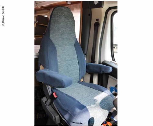 Schonbezug f. Sitz m. integr. Kopfst. 1Stk. Beifahrers. blau/grau au/grau