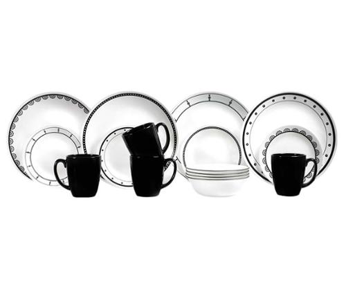 Crockery set CORELLE BLACK-WHITE 16 pcs. for 4 pers., break-proof