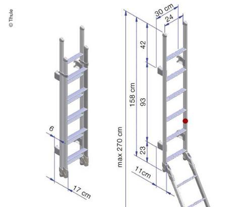 Aluminiumstege, 11 steg, öppen