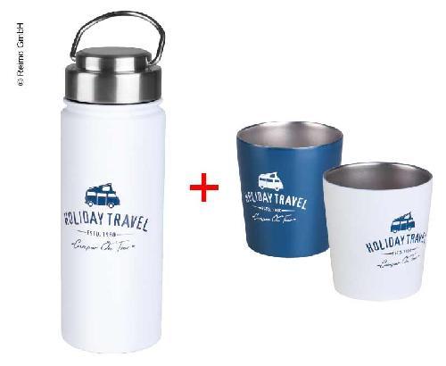 """Set """"Holiday Travel"""": Edelstahl Flasche 0,5l und 2 Becher Edelstahl"""